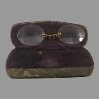 Sale Vintage Pince Nez Goldtone or Plated Eyeglasses Spectacles with Case