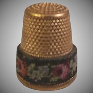 Brass Tone Thimble with Floral Fabric Band