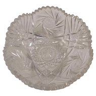 Crystal Cut Glass American Brilliant Sawtooth Bowl