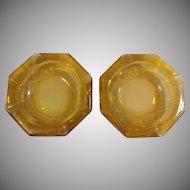 Pair of Vintage Amber 6 Sides Ashtrays