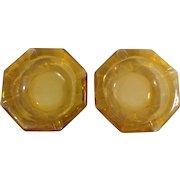 Pair of Vintage Amber 6 Sides Ashtrays