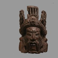 Sale Vintage Hand Carved Rosewood Asian Figure with Floral Dragon Headdress Mask