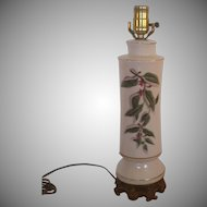 Porcelain Floral Table Lamp With Gold Trim