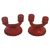 Pair Cranberry Ruby Two Cup Glass Candleholders