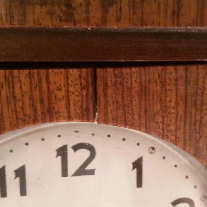 vintage wood wall clock from crownfan marked n h t second time