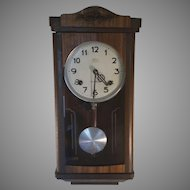 Clearance Sale Vintage Wood Wall Clock from Crownfan Marked N.H.T.