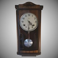 Vintage Wood Wall Clock from Crownfan Marked N.H.T.