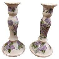 Hand Painted Floral Porcelain Candlesticks Andrea by Sadek