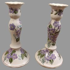 Hand Painted Floral Porcelain Candlesticks Andrea by Sadek