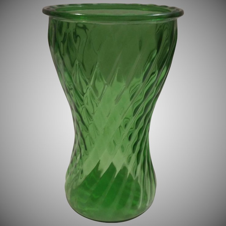 A L Randall Green Twisted Rib Vase Second Time Around Ruby Lane