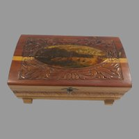 Sale Small Footed Carved Wood Box with Hinged Lid and Mirror