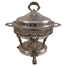 Vintage Silverplate Chafing Dish with Anchor Hocking Fire King 2 Quart Bowl