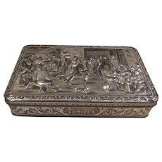 Teniers Embossed Tin Box