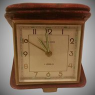 Vintage HEIRLOOM 7 Jewel Leather Case Travel Alarm Clock