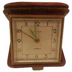 Vintage HEIRLOOM 7 Jewel Leather Case Travel Alarm Clock