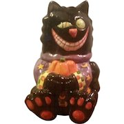 Small Black Cat Ceramic Halloween Cookie Jar by WCL