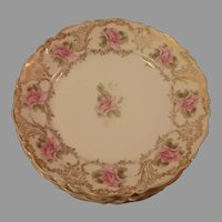 Clearance Sale Set of 6 Carl Tielsch Gold and Rose Pattern Dessert Plates