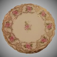 Set of 6 Carl Tielsch Gold and Rose Pattern Dessert Plates