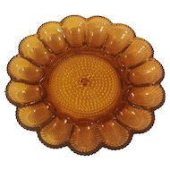 Amber Thousand Eyes Hobnail Indiana Glass Egg Plate
