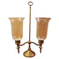 Brass Hurricane Double Arm Candelaba with 2 Etched Glass Shades