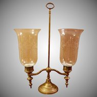 Brass Hurricane Double Arm Candelabra with 2 Etched Glass Shades