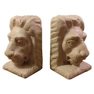 Pair Chalkware Lion Head Bookends