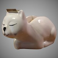 Vintage White Ceramic Cat Tape Dispenser