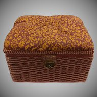 Wicker and Cloth Sewing Basket