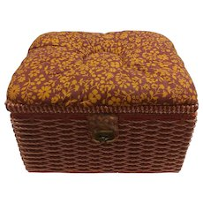 Clearance Sale Wicker and Cloth Sewing Basket