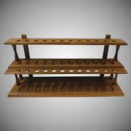 Walnut Two Tier Wall or Table Pipe Rack Holds 24