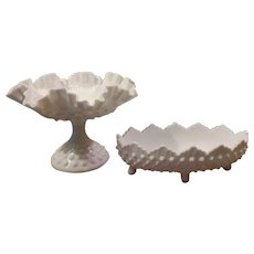 Fenton Milk Glass Hobnail Pedestal Compote or Candy Dish and Footed Pickle Dish