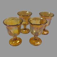 Sale Set of 4 Harvest Grape Marigold Amber Carnival Glass Cups / Goblets