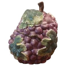 Vintage Cookie Jar Grape and Leaf Pattern