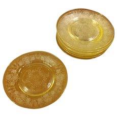 Hazel Atlas Yellow Florentine Glass Cake or Bread Plates