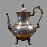 Sale Vintage Silver on Copper Footed Teapot or Coffee Pot