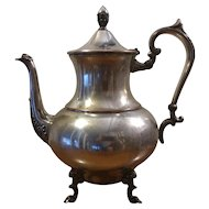 Vintage Silver on Copper Footed Teapot or Coffee Pot