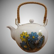 Japanese Teapot Rattan Handle Butterflies & Flowers