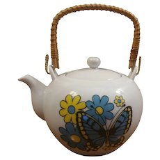 Sale Japan Teapot Rattan Handle Butterflies & Flowers Raj of India