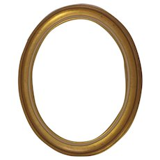 Wood Oval Gold Frame