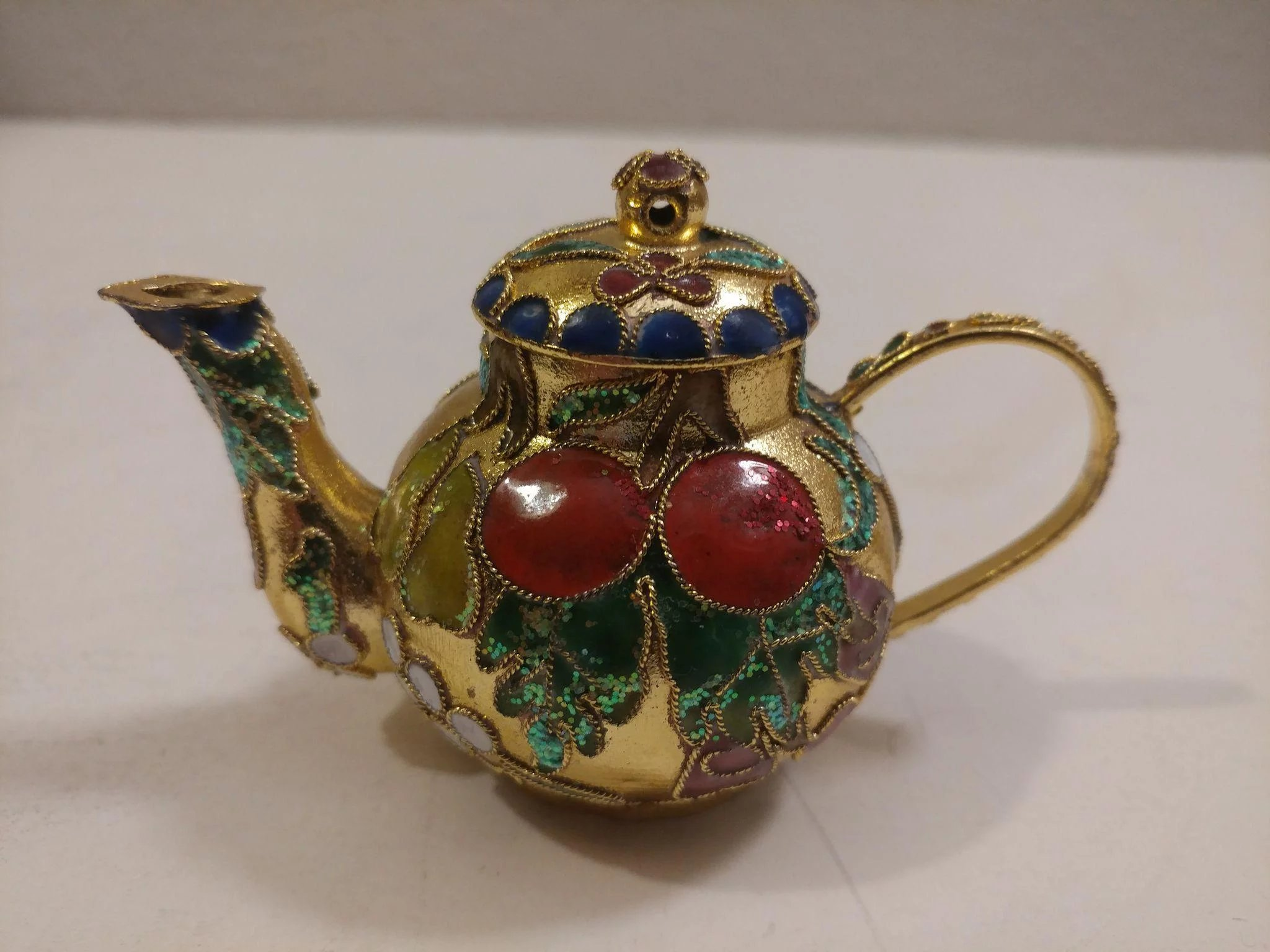 Metal and Enamel Teapot Christmas Ornament : Second Time Around ...