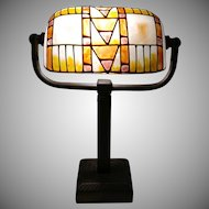 Slag Glass Bankers Piano Lamp