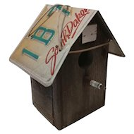 Wood Birdhouse with a License Plate Roof ans Spark Plug Perch