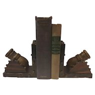 Carved Wood Cannon Bookends