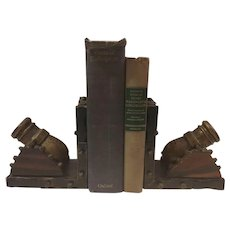 Sale Carved Wood and Metal Cannon Bookends Made in Spain