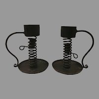 Pair of Handmade Iron Lever Spiral Candleholders Free Shipping