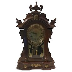 Carved Wood Gilt Face Mantle or Wall Clock