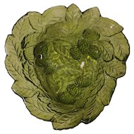 Green Grape and Leaf Serving Dish