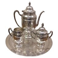 World Silver On Copper Coffee Tea Set