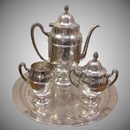 World Silver On Copper Coffee Tea Set