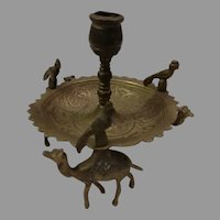 Brass Candlestick with Three Camels and Birds